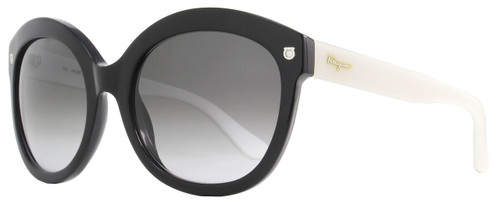 Salvatore Ferragamo Oval Sunglasses SF677S 961 Black/White 677