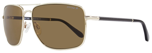 Corsa Rectangular Sunglasses Enzo C01 Light Gold/Carbon Fiber Polarized