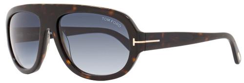 Tom Ford Rectangular Sunglasses TF444 Hugo 52W Dark Havana/Gold FT0444