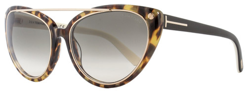 Tom Ford Cateye Sunglasses TF384 Edita 56B Tortoise/Black/Gold FT0384