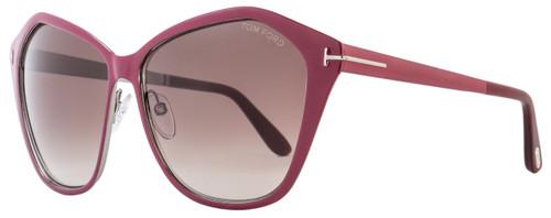 Tom Ford Butterfly Sunglasses TF391 Lena 69Z Burgundy/Ruthenium FT0391
