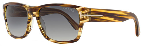 Tom Ford Rectangular Sunglasses TF445 Mason 50B Size: 58mm Brown/Striped Honey FT0445