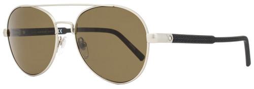Montblanc Oval Sunglasses MB587S 17J Size: 56mm Palladium/Black 587
