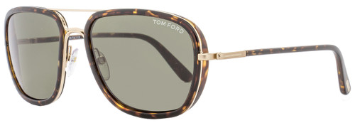 Tom Ford Rectangular Sunglasses TF340 Riccardo 28N Havana/Gold FT0340
