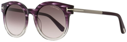 Tom Ford Oval Sunglasses TF435 Janina 83T Violet Melange/Ruthenium FT0435