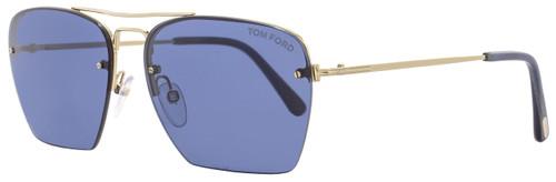 Tom Ford Aviator Sunglasses TF504 Walker 28V Rose Gold/Blue Horn FT0504