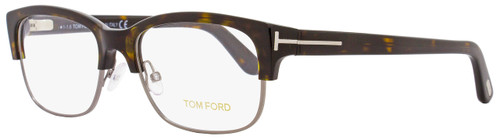 Tom Ford Rectangular Eyeglasses TF5307 053 Size: 52mm Shiny Havana/Ruthenium FT5307