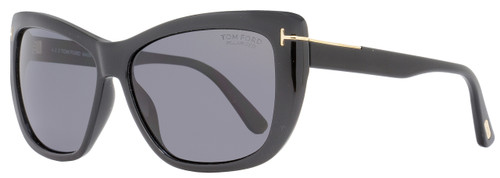Tom Ford Rectangular Sunglasses TF434 Lindsay 01D Black/Gold Polarized FT0434