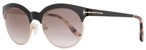Tom Ford Oval Sunglasses TF438 Angela 01F Black/Gold/Havana FT0438