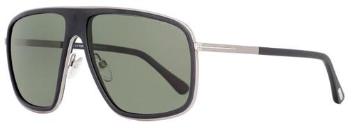 Tom Ford Square Sunglasses TF463 Quentin 02R Matte Black/Ruthenium Polarized FT0463