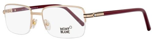 Montblanc Rectangular Eyeglasses MB478 028 Size: 55mm Rose Gold/Burgundy 478