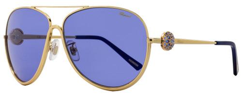 Chopard Aviator Sunglasses SCHB23S 0300 Rose Gold/Turquoise B23