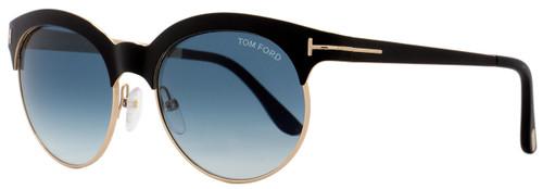Tom Ford Oval Sunglasses TF438 Angela 05P Matte Black/Gold FT0438