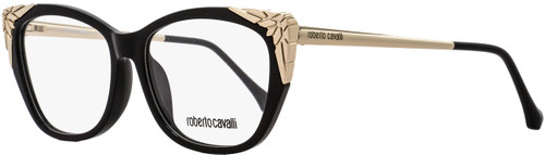 Roberto Cavalli Rectangular Eyeglasses RC5008 Arcidosso 001 Size: 55mm Black/Rose Gold 5008