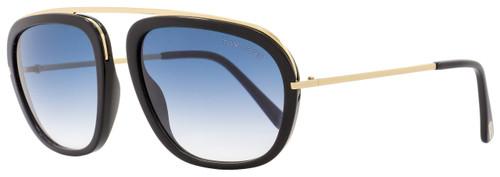 Tom Ford Rectangular Sunglasses TF453 Johnson 01P Gold/Black FT0453