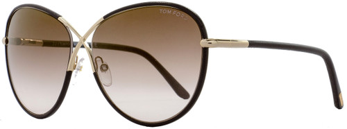 Tom Ford Butterfly Sunglasses TF344 Rosie 48G Brown Leather/Gold FT0344