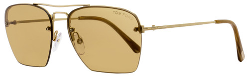 Tom Ford Aviator Sunglasses TF504 Walker 28E Gold/Brown FT0504