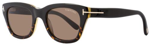 Tom Ford Rectangular Sunglasses TF237 Snowdon 05J Black/Havana/Honey FT0237
