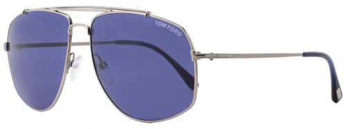 Tom Ford Aviator Sunglasses TF496 Georges 14V Ruthenium/Blue Horn FT0496