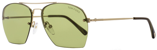 Tom Ford Aviator Sunglasses TF505 Whelan 28N Gold/Green Horn FT0505