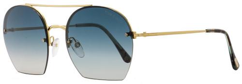 Tom Ford Oval Sunglasses TF506 Antonia 28W Gold/Turqouise Havana FT0506