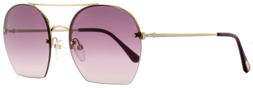 Tom Ford Oval Sunglasses TF506 Antonia 28Z Gold/Plum FT0506