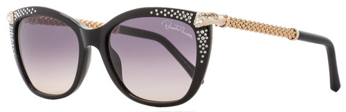 Roberto Cavalli Rectangular Sunglasses RC978S Talitha 01B Black/Gold 978