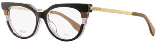 Fendi Oval Eyeglasses FF0116 MVB Black/Brown/Gold 52mm 116