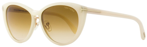 Tom Ford Oval Sunglasses TF345 Gina 20F Ivory/Chalkstripe 57mm FT0345