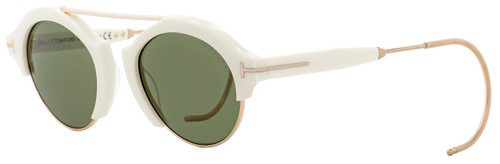 Tom Ford Oval Sunglasses TF631 Farrah-02 25N White/Gold 49mm FT0631