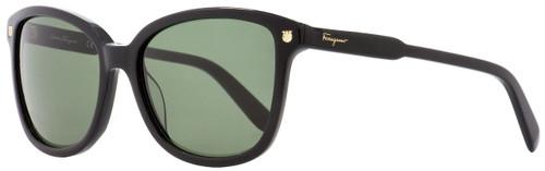 Salvatore Ferragamo Square Sunglasses SF815S 001 Shiny Black 56mm 815
