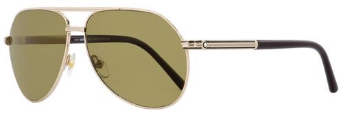 Montblanc Aviator Sunglasses MB504S 28M Gold/Dark Brown Polarized 62mm 504