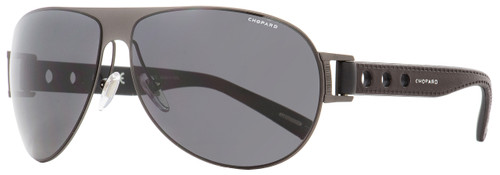 Chopard Wrap Sunglasses SCHB83 627P Gunmetal/Black Polarized 65mm B83
