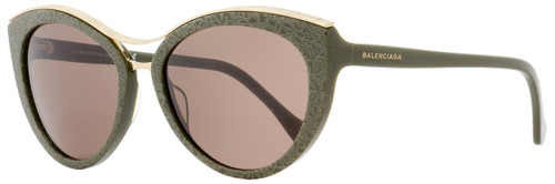Balenciaga Oval Sunglasses BA33 96J Dark Green/Gold  57mm BA0033