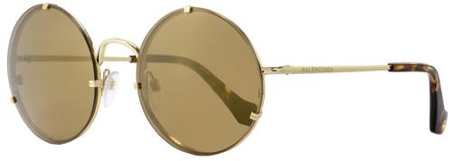 Balenciaga Round Sunglasses BA86 33G Gold/Havana 55mm BA0086
