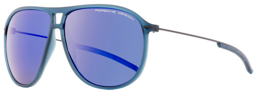Porsche Design Oval Sunglasses P8635 D Transparent Blue/Graphite 61mm 8635