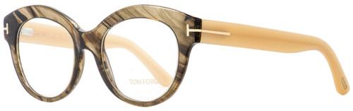 Tom Ford Oval Eyeglasses TF5377 050 Transparent Brown/Opal Beige 52mm 5377