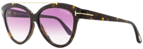 Tom Ford Butterfly Sunglasses TF518 Livia 52Z Dark Havana/Gold 58mm FT0518
