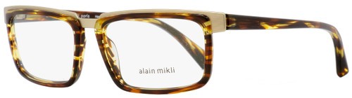 Alain Mikli Rectangular Eyeglasses A02016 001 Brown/Amber/Gold 54mm 2016