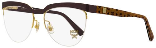 MCM Semi-Rimless Eyeglasses MCM2102 211 Gold/Brown/Cognac Visetos 53mm 2102