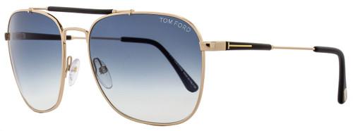 Tom Ford Square Sunglasses TF377 Edward 28W Rose Gold/Matte Black 58mm FT0377