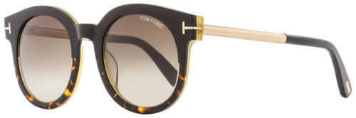 Tom Ford Oval Sunglasses TF435 Janina 01K Havana/Black/Gold 51mm FT0435