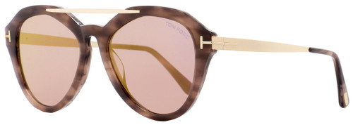 Tom Ford Oval Sunglasses TF576 Lisa-02 55Z Coloured Havana/Gold 54mm FT0576