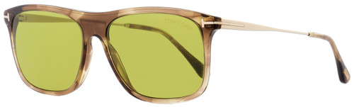Tom Ford Rectangular Sunglasses TF588 Max-02 47N Brown Melange/Gold 57mm FT0588