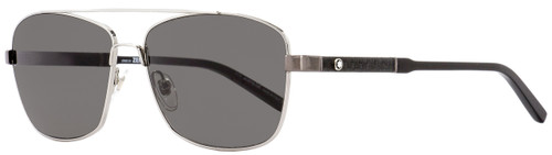 Montblanc Rectangular Sunglasses MB589S 14A Ruthenium/Black 60mm 589