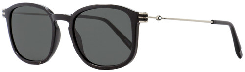 Montblanc Oval Sunglasses MB698S 01A Shiny Black/Palladium 52mm 698