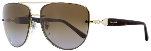 Bulgari Rimless Sunglasses BV6086B 278-T5 Gold/Havana Polarized 60mm 6086