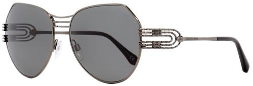 Roberto Cavalli Oval Sunglasses RC1064 Giglio 08A Gunmetal/Black 58mm 1064