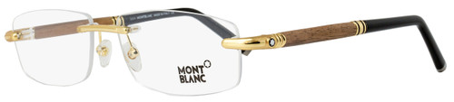 Montblanc Rimless Eyeglasses MB491 030 Yellow Gold/Walnut Wood 56mm 491