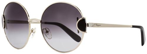 Salvatore Ferragamo Round Sunglasses SF156S 703 Light Gold/Black 59mm 156